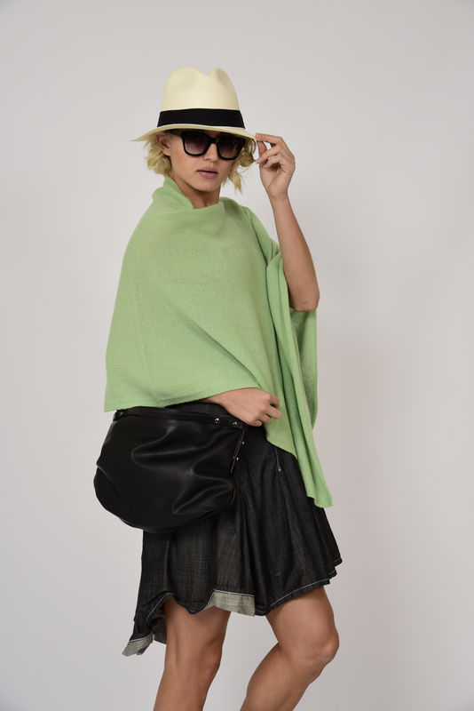 Poncho 100% Cashmere - Lychee Green - product images  of