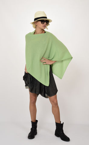 Poncho,100%,Cashmere,-,Lychee,Green,Dress Topper Poncho -  Cashmere Kaschmir Lychee Green Gestrickt Poncho