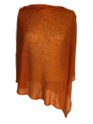 Poncho,100%,Linen,-,Burnt,Orange,Poncho 100% Linen - Burnt Orange