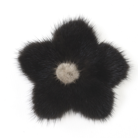 Mink,Flower,Brooch,-,Black,with,Grey,Center,Mink flower brooch jennigraf