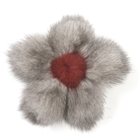 Mink,Flower,Brooch,-,Silver,Grey,with,Bordeaux,Center,Mink flower brooch jennigraf