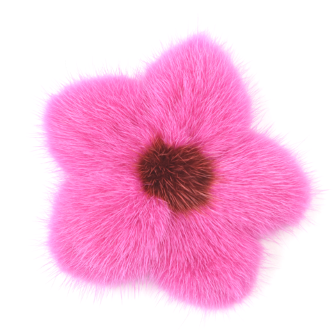 Mink,Flower,Brooch,-,Hot,Pink,with,Red,Center,Mink flower brooch jennigraf