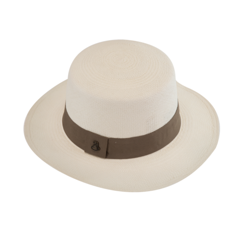 Panama,Boater,-,White,with,Beige,Band,Panama Boater - White with Beige Band Ecua Andino