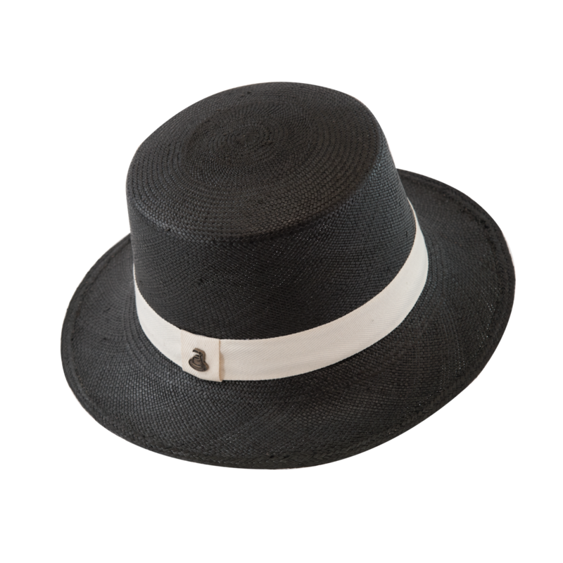 Panama Boater - Black with White Band - product images  of