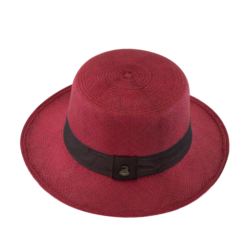 Panama Boater - Red with Deep Red Band - product images  of