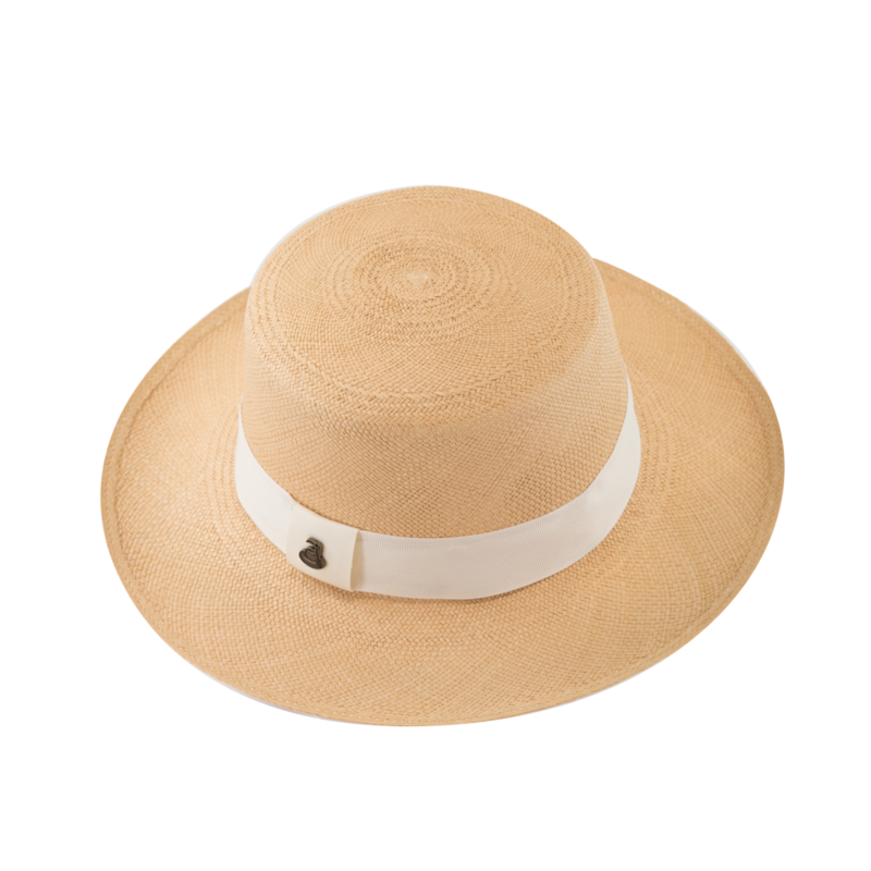 Panama Boater - Natural with White Band - product images