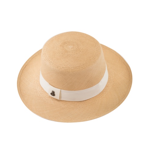 Panama,Boater,-,Natural,with,White,Band,Panama Boater - Natural with White Band Ecua Andino