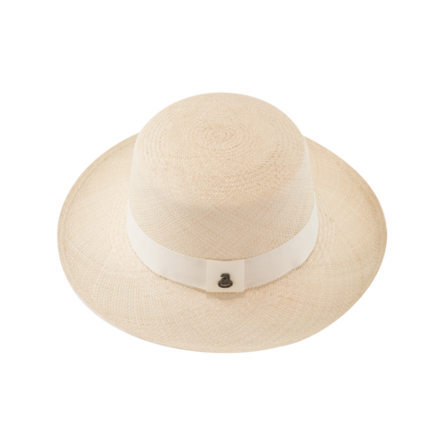 Panama,Boater,-,White,with,Band,Panama Boater - White with White Band Ecua Andino