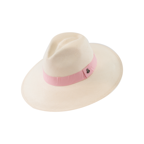 Classic,Panama,White,with,Pink,Band,,Large,Brim,Classic Panama White with Pink Band, Large Brim
