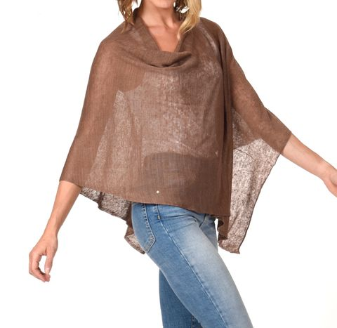 Poncho,100%,Linen,-,Brown,Poncho 100% Linen Brown