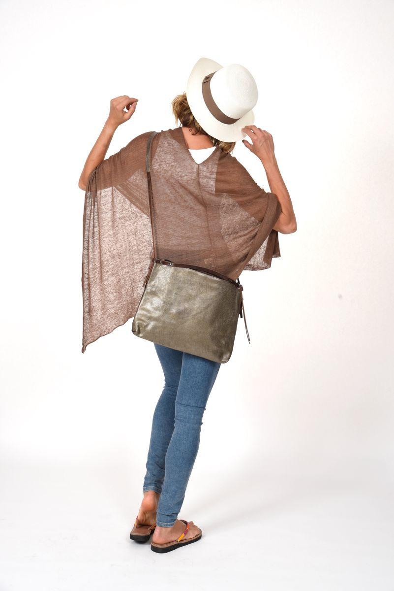 Poncho 100% Linen - Brown - product images  of