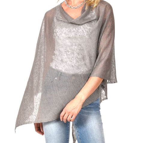 Poncho,100%,Linen,-,Grey,(anthracite),Poncho 100% Linen Grey (anthracite)