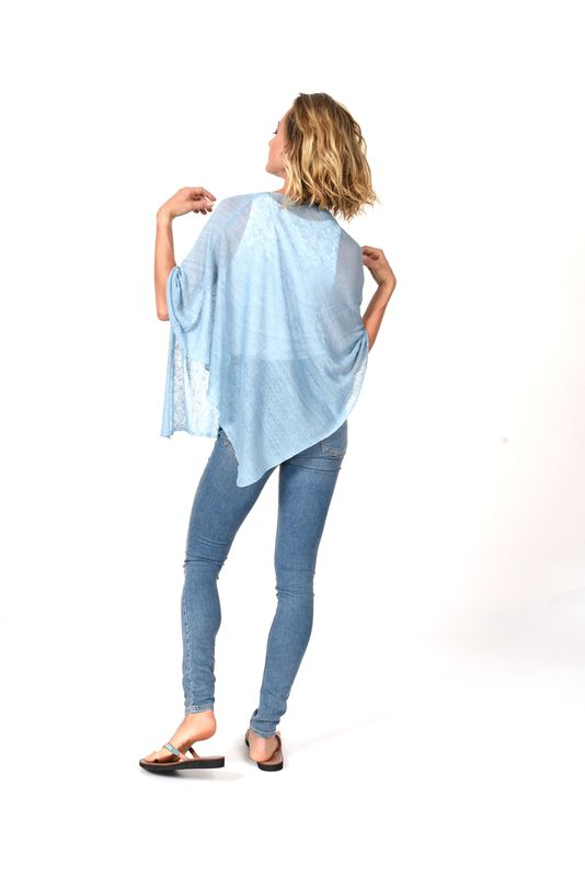 Poncho 100% Linen - Cielo - product images  of