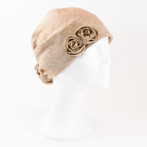 Linen,Turban,-,Honey,Linen Turban Chemo Hairloss