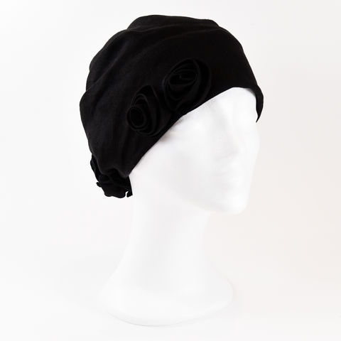 Linen,Turban,-,Black,Linen Turban Chemo Hairloss