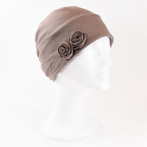 Linen,Turban,-,Pale,Brown,Linen Turban Chemo Hairloss