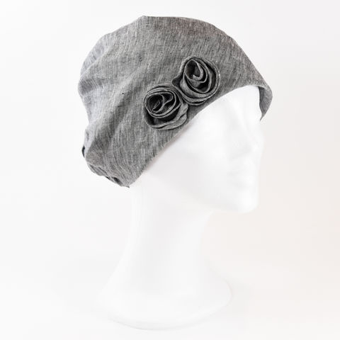 Linen,Turban,-,Grey,Linen Turban Chemo Hairloss
