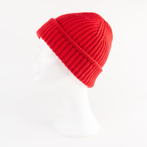 Classic,Ribbed,Beanie,Cuff,-,RED!,Classic ribbed Beanie Cuff cashmere italy unisex men woman red rot signal bright feuer fire