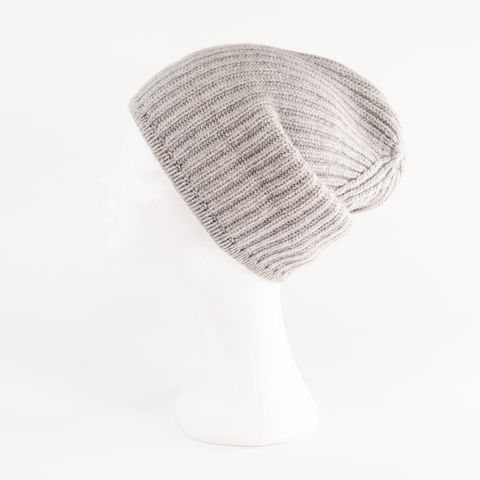 Classic,Ribbed,Beanie,Cuff,-,SILVER,Classic ribbed Beanie Cuff cashmere italy unisex men woman silver grau grey hell gray light gris