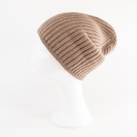 Classic,Ribbed,Beanie,Cuff,-,MEDIUM,BROWN,Classic ribbed Beanie Cuff cashmere kaschmir italy unisex men woman Medium Brown Middle Braun Mittel