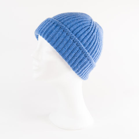 Classic,Ribbed,Beanie,Cuff,-,PERIWINKLE,BLUE,Classic ribbed Beanie Cuff cashmere kaschmir italy unisex men woman periwinkle blue blau mittel jeans melliert mix middle