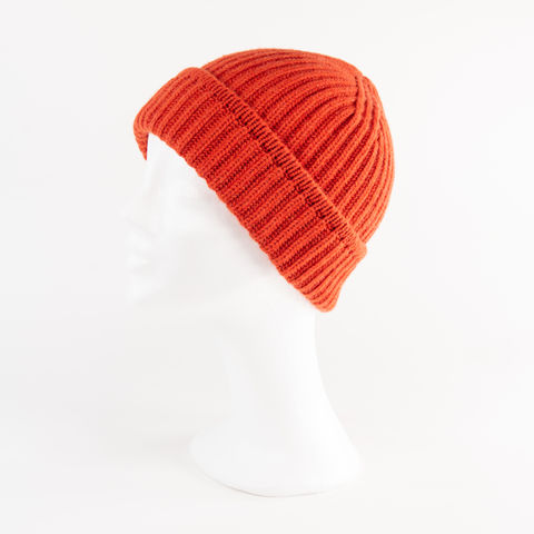 Classic,Ribbed,Beanie,Cuff,-,BRIGHT,ORANGE,Classic ribbed Beanie Cuff cashmere kaschmir italy unisex men woman orange henna bright neon