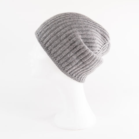 Classic,Ribbed,Beanie,Cuff,-,STEEL,GREY,Classic ribbed Beanie Cuff cashmere kaschmir italy unisex men woman steel grey stahl grau gris mittel middle stone stein