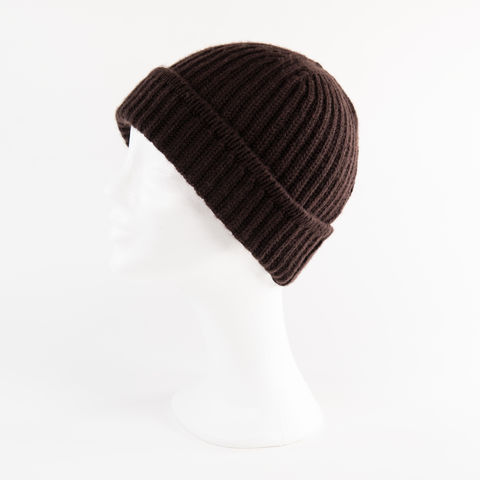 Classic,Ribbed,Beanie,Cuff,-,DARK,BROWN,Classic ribbed Beanie Cuff cashmere kaschmir italy unisex men woman Dark brown braun dunkel marone
