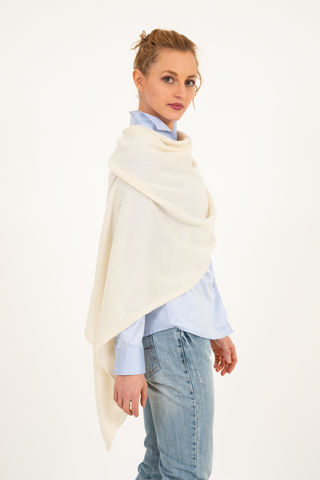 Poncho,-,Dress,Topper,Panna,Cream,Poncho - Dress Topper Cashmere Kaschmir Panna Cream Gestrickt Poncho