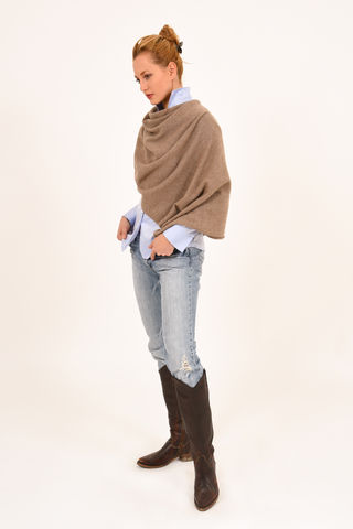 Poncho,-,Dress,Topper,Light,Brown,Poncho - Dress Topper Cashmere Kaschmir Light Brown Gestrickt Poncho