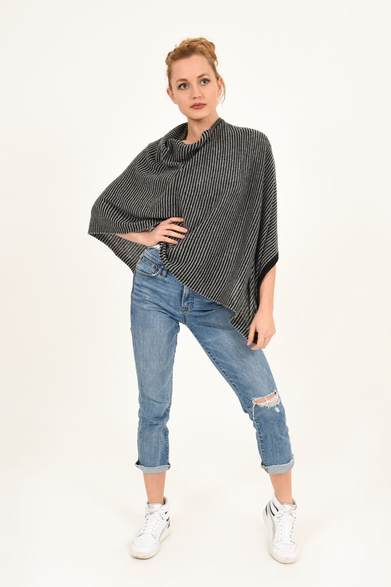 Poncho - Dress Topper - Black Grey Stripe - product images  of