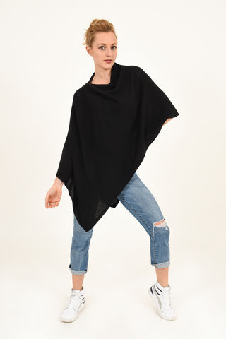 Poncho,-,Dress,Topper,Black,Poncho - Dress Topper Cashmere Kaschmir Black Gestrickt Poncho