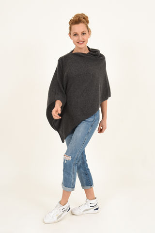 Poncho,-,Dress,Topper,Anthrazite,Poncho - Dress Topper Cashmere Kaschmir Anthrazite Gestrickt Poncho