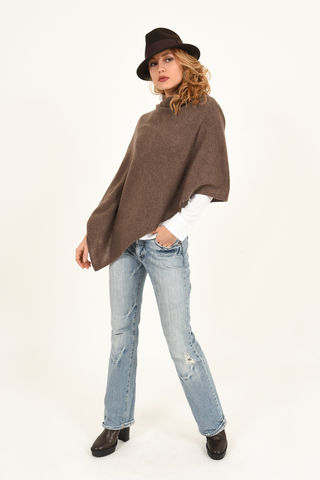 Poncho,-,Dress,Topper,Heathered,Legno,Poncho - Dress Topper Cashmere Kaschmir Heathered Legno Gestrickt Poncho
