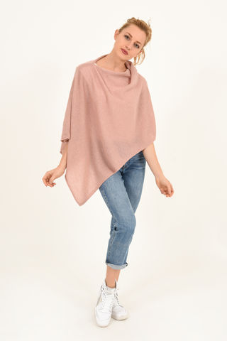 Poncho,-,Dress,Topper,Dusty,Rose,Poncho - Dress Topper Cashmere Kaschmir Dusty Rose Gestrickt Poncho