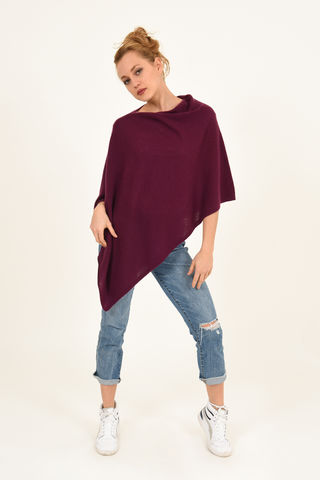 Poncho,-,Dress,Topper,Bordeaux,Poncho - Dress Topper Cashmere Kaschmir Bordeaux Gestrickt Poncho