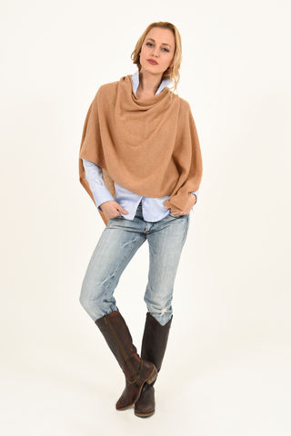 Poncho,-,Dress,Topper,Camel,Poncho - Dress Topper Cashmere Kaschmir Gestrickt Poncho Knit Camel Brown Kamel Braun