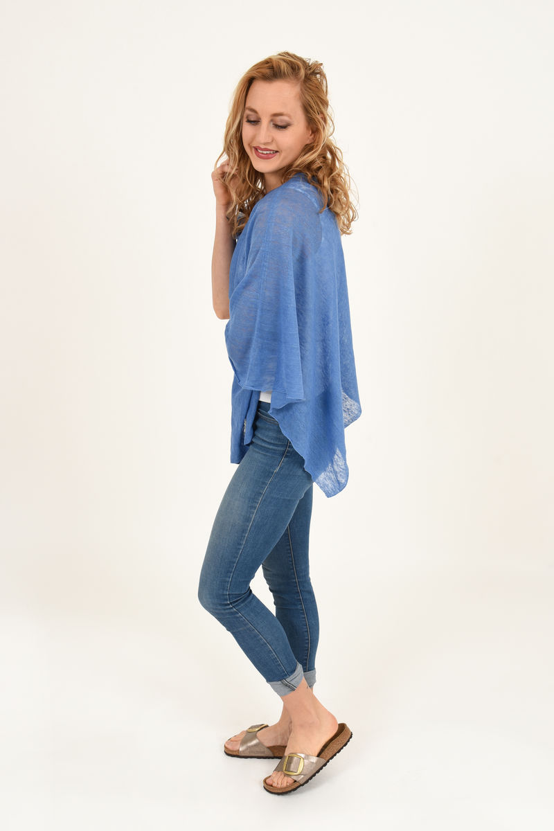 Poncho 100% Linen - Marlin Blue - product images  of