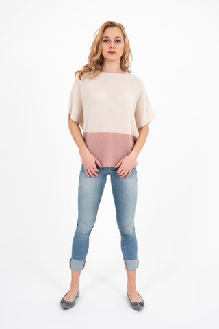 Sweater,-,Two,Tone,Panna/Dusty,Rose,Pullover- Cashmere Sweater Kaschmir Two Tone Duo Pulli Knit Mid Sleeve Panna Creme Dusty Rose
