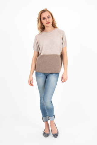 Sweater,-,Two,Tone,Oatmeal/Brown,Pullover- Cashmere Sweater Kaschmir Two Tone Duo Pulli Knit Mid Sleeve Oatmeal Beige Brown Middle Light
