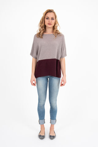 Sweater,-,Two,Tone,Taupe/Mosto,Pullover- Cashmere Sweater Kaschmir Two Tone Duo Pulli Knit Mid Sleeve Taupe Pumia Mosto Vino Red