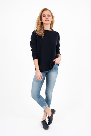 Sweater,-,Boat,Neck,Navy,Pullover- Sweater Cashmere Kaschmir Boat Neck Pulli Long Sleeve Navy Blue Blau Marine