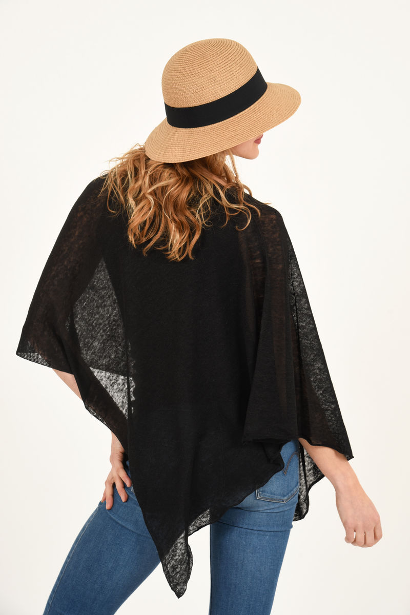 Poncho 100% Linen - Black - product images  of