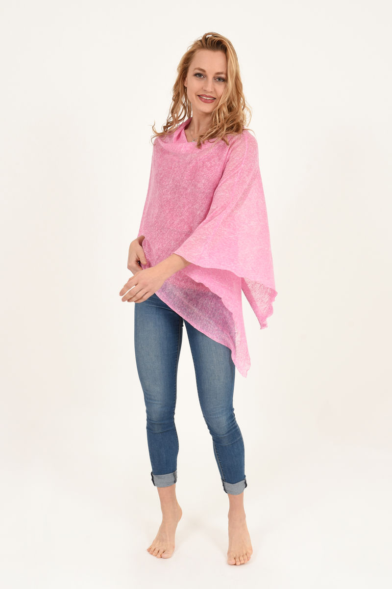 Poncho 100% Linen - Pink Melange - product images  of