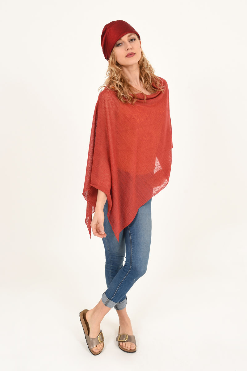 Poncho 100% Linen - Carnelian Red - product images  of
