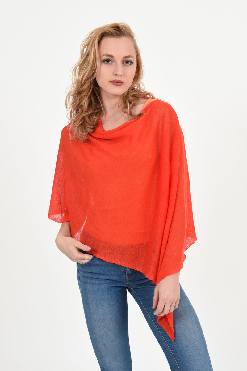 Poncho 100% Linen - Pomodoro Red - product images  of