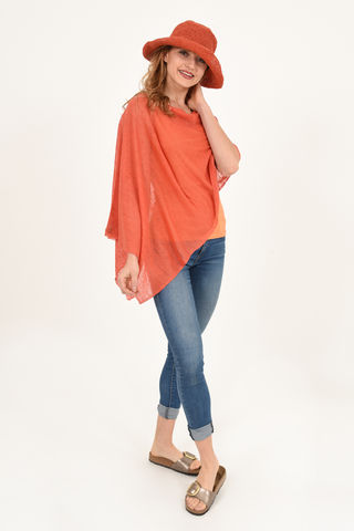 Poncho,100%,Linen,-,Coral,Bright,Orange,Poncho 100% Linen Coral Bright Orange