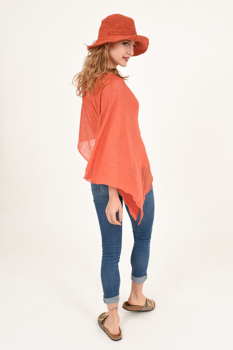 Poncho 100% Linen - Coral Bright Orange - product images  of