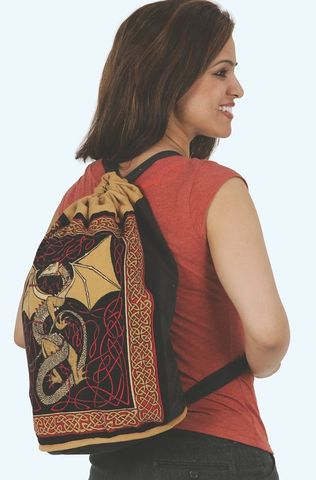 Celtic,Dragon,Backpack,,Gold,or,Blue,cotton,backpack, Celtic dragon, blue backpack,  red backpack, gold back,Celtic Backpack, , tote, bag, BrushCreekWoolWorks, Brush Creek Wool Works