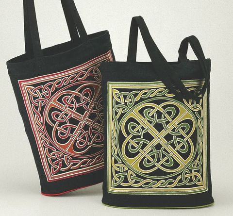 Celtic,Tote,,Knotwork,Design,,Expandable,Bottom,tote, bag, Celtic, knotwork, Celtic bag, Celtic book bag, cotton , expandable,  red, green,  BrushCreekWoolWorks, Brus bag,h Creek Wool Works